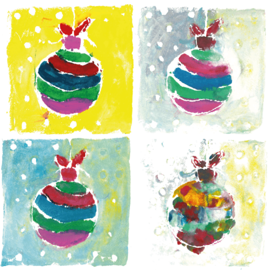 4 multicoloured baubles on a christmas card
