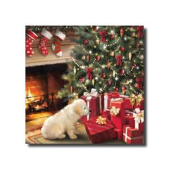A puppy looking at presents under the Christmas tree in front of a lit fire
