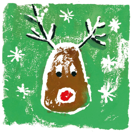 A reindeer head painted on a green background