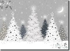 Silvery Trees on a christmas card