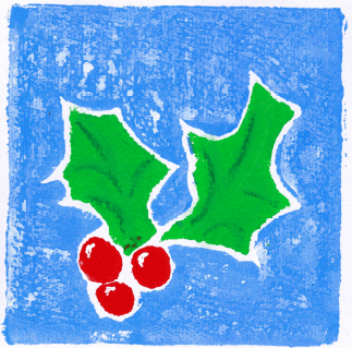 hand drawn holly on a blue background