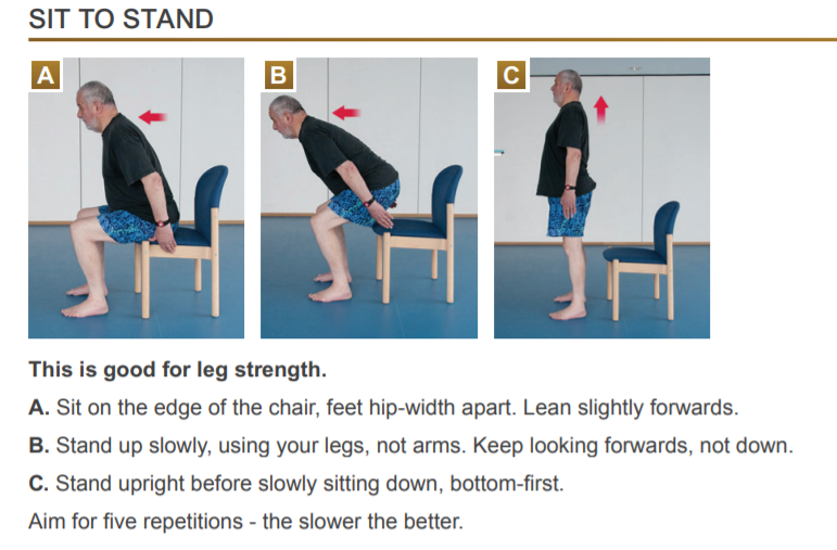 a man doing sit to stand exercise