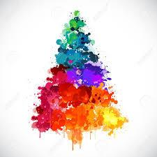 a Christmas tree painted in rainbow colours