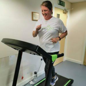 Sharon running on a treadmill