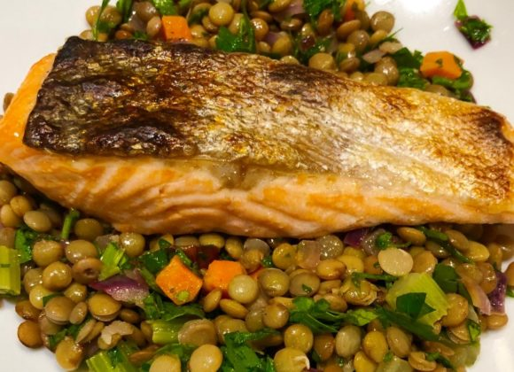 Warm Lentil Salad with Salmon or Halloumi