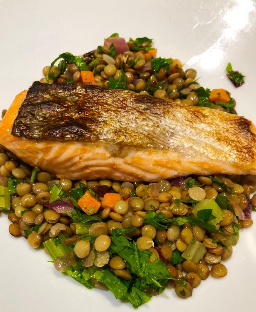 Warm Lentil Salad with Salmon or Halloumi