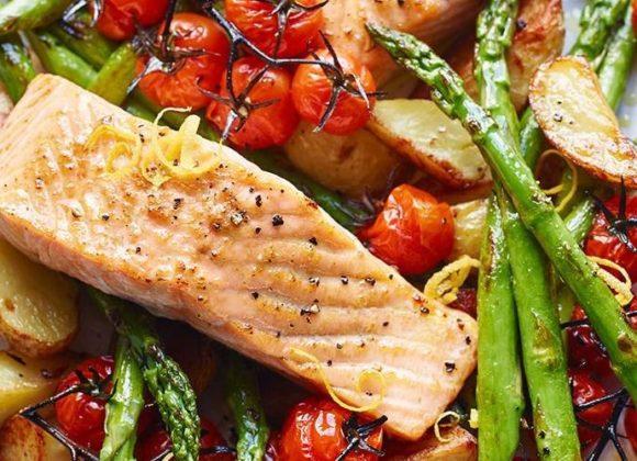Salmon and Asparagus Traybake