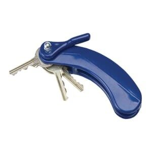 a blue key turner with 3 keys attached