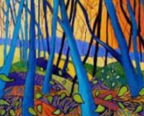 an abstract painting of tree trunks in blue against an orange background